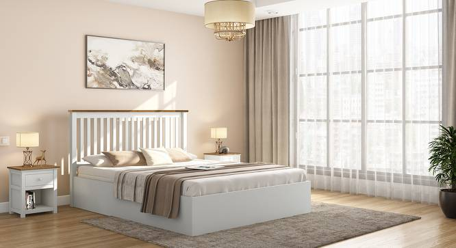 Athens White Storage Bed (King Bed Size, White Finish, Box Storage Type) by Urban Ladder