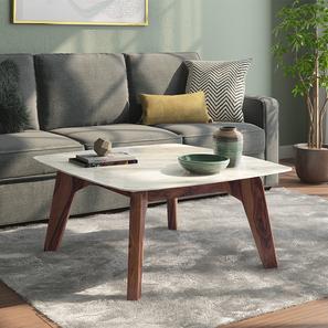 Galatea marble square coffee table teak 44