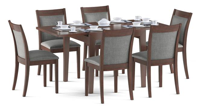 Murphy 4-to-6 Extendable - Dalla 6 Seater Dining Table Set (Grey, Dark Walnut Finish) by Urban Ladder