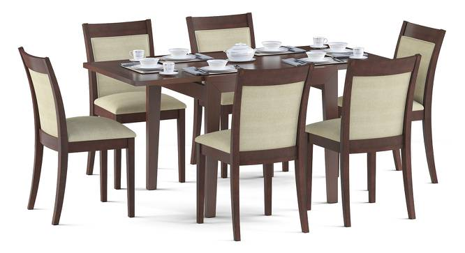 Murphy 4-to-6 Extendable - Dalla 6 Seater Dining Table Set (Beige, Dark Walnut Finish) by Urban Ladder