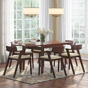 Murphy 4-to-6 Extendable - Thomson 6 Seater Dining Table Set (Beige, Dark Walnut Finish) by Urban Ladder