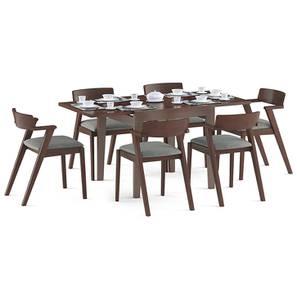Murphy 4-to-6 Extendable - Thomson 6 Seater Dining Table Set (Grey, Dark Walnut Finish) by Urban Ladder