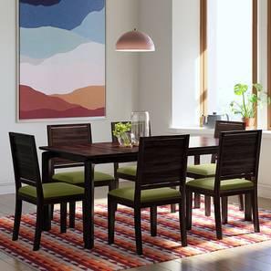 Catria XL - Oribi 6 Seater Dining Table Set (Mahogany Finish, Avocado Green) by Urban Ladder