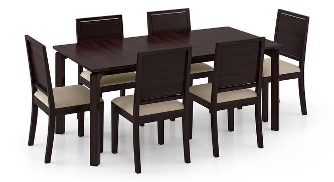 Catria XL - Oribi 6 Seater Dining Table Set (Mahogany Finish, Wheat Brown) by Urban Ladder
