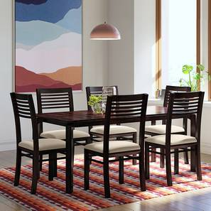 Catria XL - Zella 6 Seater Dining Table Set (Mahogany Finish, Wheat Brown) by Urban Ladder