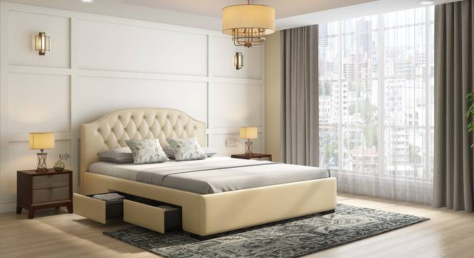 Agnes Upholstered Storage Bed (Cream, Queen Bed Size) by Urban Ladder