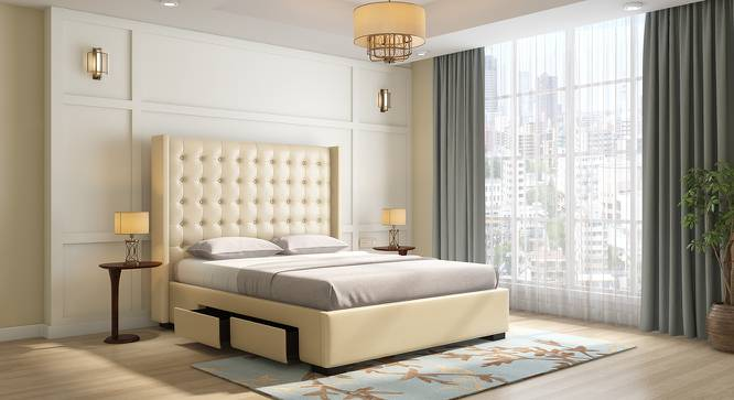 Harris Upholstered Storage Bed (Cream, King Bed Size, Drawer Storage Type) by Urban Ladder