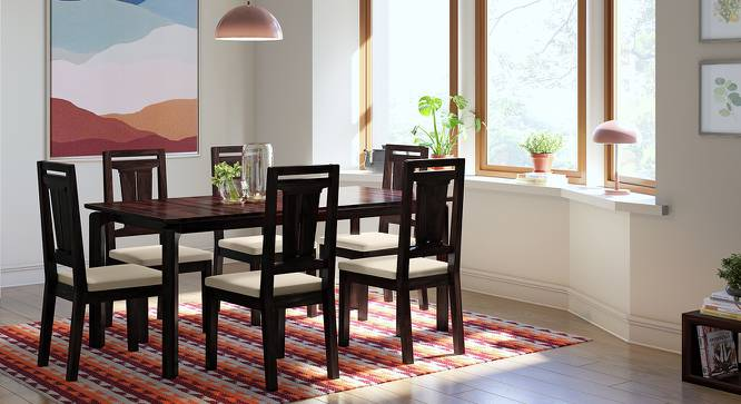 Catria XL - Martha 6 Seater Dining Table Set (Mahogany Finish, Wheat Brown) by Urban Ladder