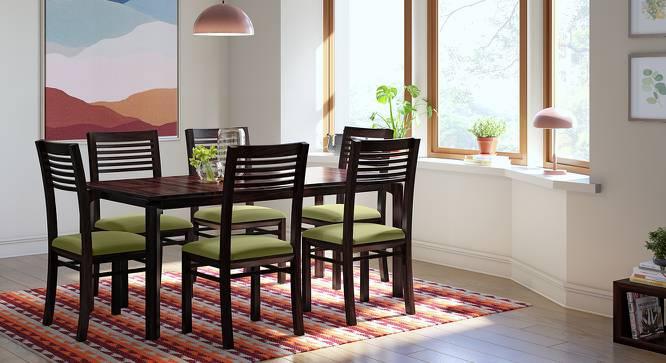Catria XL - Zella 6 Seater Dining Table Set (Mahogany Finish, Avocado Green) by Urban Ladder