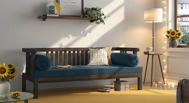 Milton Day Bed (Blue, American Walnut Finish) by Urban Ladder