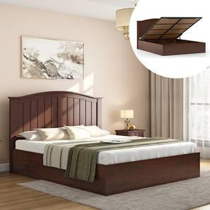 Wichita Hydraulic Bed (King Bed Size, Dark Walnut Finish) by Urban Ladder