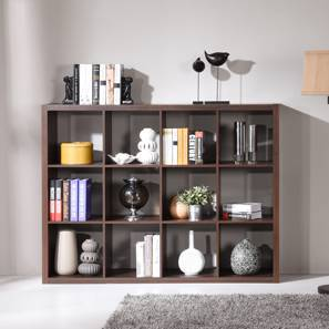 Boeberg Bookshelf (Dark Walnut Finish, 4 x 3 Configuration, Without Inserts, 85 Book Book Capacity) by Urban Ladder