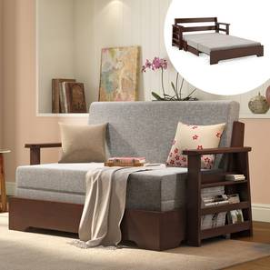 Oshiwara Compact Sofa Cum Bed (Dark Walnut Finish, Flint Grey) by Urban Ladder