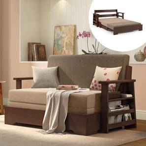 Oshiwara Compact Sofa Cum Bed (Dark Walnut Finish, Two Tone) by Urban Ladder