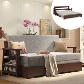 Oshiwara Sofa Cum Bed (Dark Walnut Finish, Flint Grey) by Urban Ladder