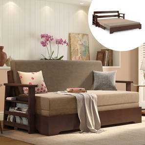 Oshiwara Sofa Cum Bed (Dark Walnut Finish, Two Tone) by Urban Ladder