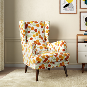 Genoa Wing Chair ( Marigold Inca) by Urban Ladder - Design 1 Full View - 282943