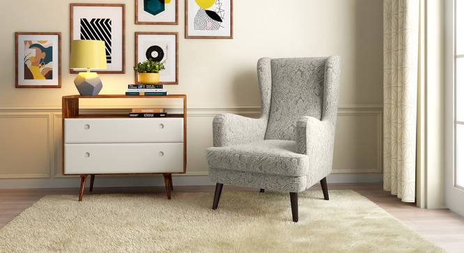 Genoa Wing Chair (Monochrome Paisley) by Urban Ladder - Design 1 Full View - 282951