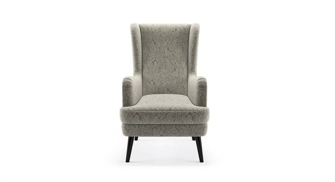 Genoa Wing Chair (Monochrome Paisley) by Urban Ladder - Front View Design 1 - 282952