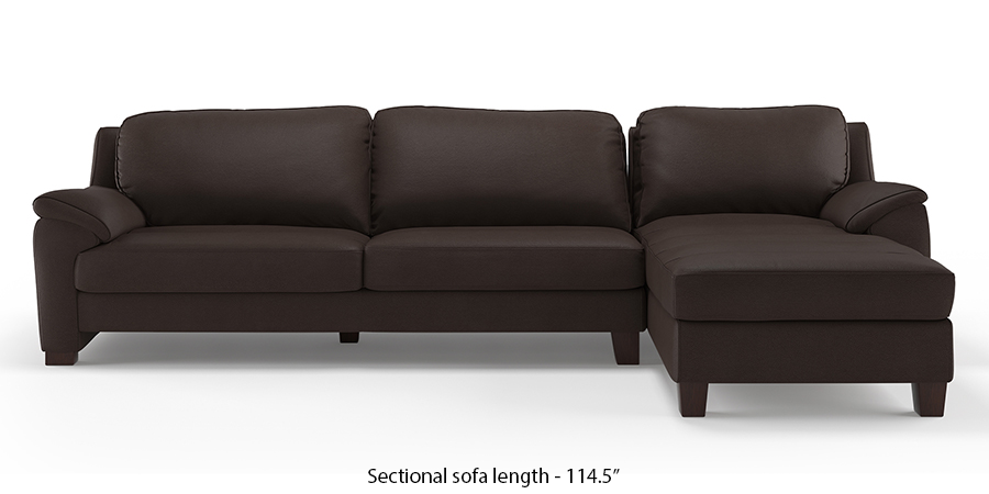 Farina Half Leather Sectional Sofa (Chocolate Camel) by Urban Ladder
