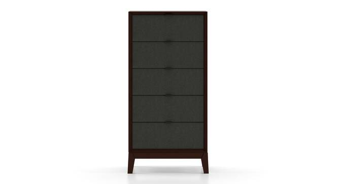 Martino Tall Chest Of Five Drawers (Dark Walnut Finish, Charcoal Grey) by Urban Ladder