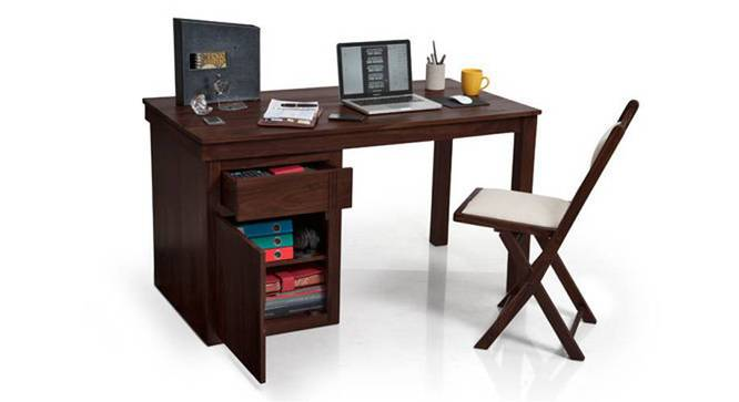 Bradbury Desk (Mahogany Finish, Large Size) by Urban Ladder - Half View - 283147