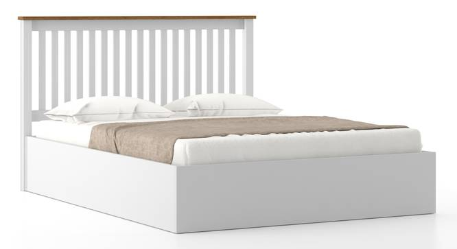 Athens White Hydraulic Bed (Queen Bed Size, White Finish) by Urban Ladder