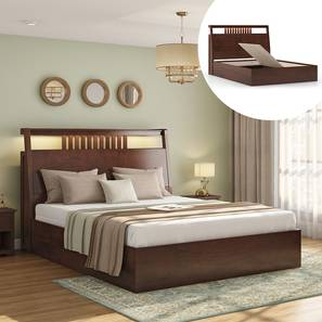 Amelia Storage Bed (Queen Bed Size, Dark Walnut Finish) by Urban Ladder