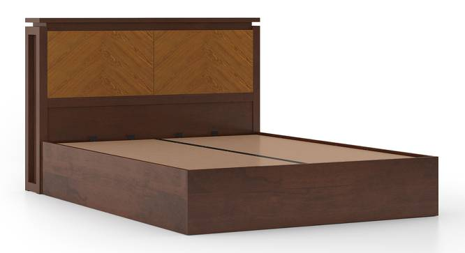 Miyako Hydraulic Bed (Queen Bed Size, Dark Walnut Finish) by Urban Ladder