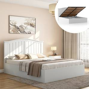 Wichita White Hydraulic Bed (King Bed Size, White Finish) by Urban Ladder