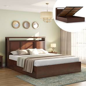 Dixon Hydraulic Bed (King Bed Size, Dark Walnut Finish) by Urban Ladder