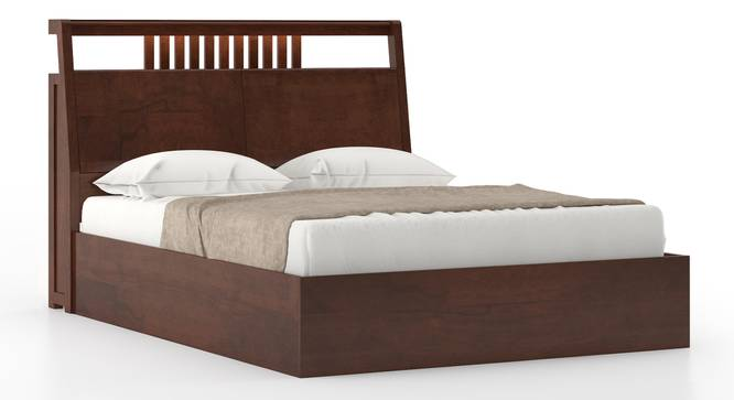 Amelia Smart Hydraulic Bed with Headboard Storage (Queen Bed Size, Dark Walnut Finish) by Urban Ladder