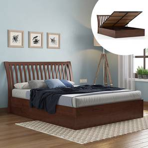Tanera Hydraulic Bed (Queen Bed Size, Dark Walnut Finish) by Urban Ladder