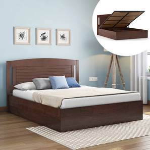 Ellis Hydraulic Bed (Queen Bed Size, Dark Walnut Finish) by Urban Ladder