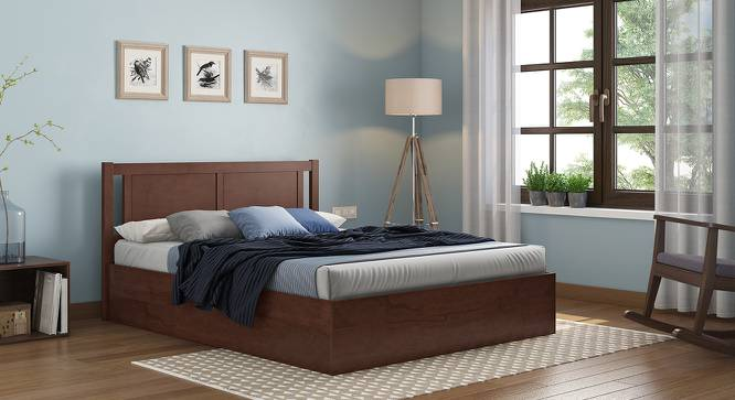 Brandenberg Hydraulic Bed (King Bed Size, Dark Walnut Finish) by Urban Ladder