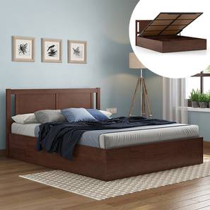 Brandenberg Hydraulic Bed (Queen Bed Size, Dark Walnut Finish) by Urban Ladder