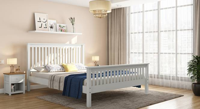 Athens White Bed (Solid Wood) (Queen Bed Size, White Finish) by Urban Ladder
