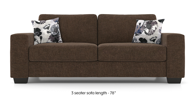 Leslie Sofa (Chestnut Brown) (3-seater Custom Set - Sofas, None Standard Set - Sofas, Chestnut Brown, Fabric Sofa Material, Regular Sofa Size, Regular Sofa Type)