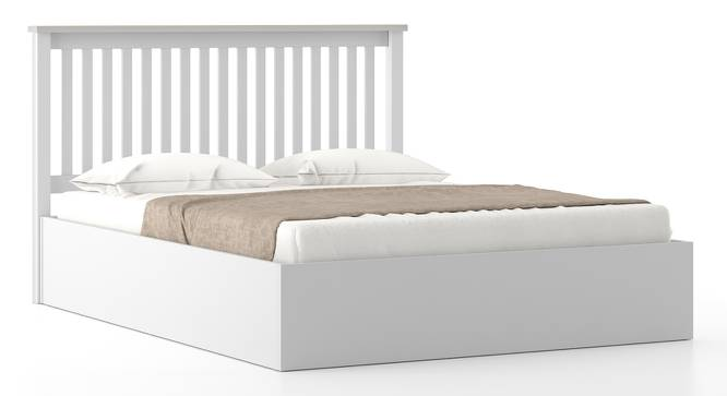 Athens White Hydraulic Bed (Solid Wood) (Queen Bed Size, White Finish) by Urban Ladder