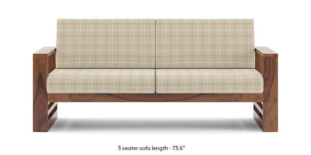 Parsons Wooden Sofa - Teak Finish (Sandy Brown) by Urban Ladder
