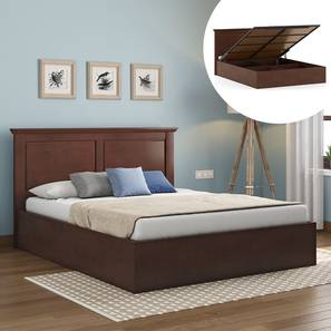 Somerset Hydraulic Bed (Queen Bed Size, Dark Walnut Finish) by Urban Ladder