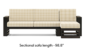 Parsons Wooden Sectional Sofa - American Walnut Finish (Sandy Brown)