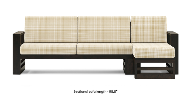 Parsons Wooden Sectional Sofa - American Walnut Finish (Sandy Brown) (None Custom Set - Sofas, Right Aligned 3 seater + Chaise Standard Set - Sofas, Sandy Brown, Fabric Sofa Material, Regular Sofa Size, Sectional Sofa Type)