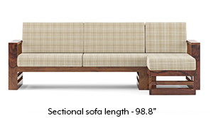 Parsons Wooden Sectional Sofa - Teak Finish (Sandy Brown)