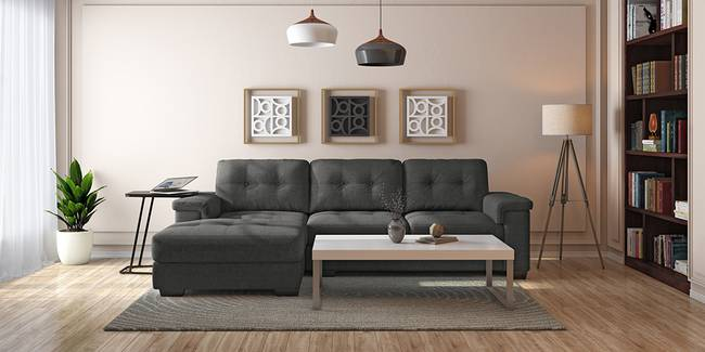 Turin Sectional Sofa (Moonlight Grey) (None Custom Set - Sofas, Left Aligned 3 seater + Chaise Standard Set - Sofas, Fabric Sofa Material, Regular Sofa Size, Sectional Sofa Type, Moonlight Grey)