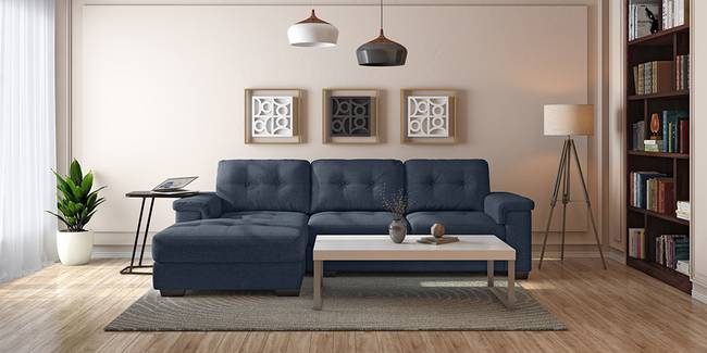 Turin Left Sectional Sofa (Midnight Blue) (None Custom Set - Sofas, Right Aligned 3 seater + Chaise Standard Set - Sofas, Fabric Sofa Material, Regular Sofa Size, Sectional Sofa Type, Midnight Blue)