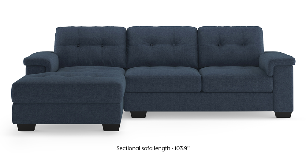 Turin Left Sectional Sofa (Midnight Blue) by Urban Ladder