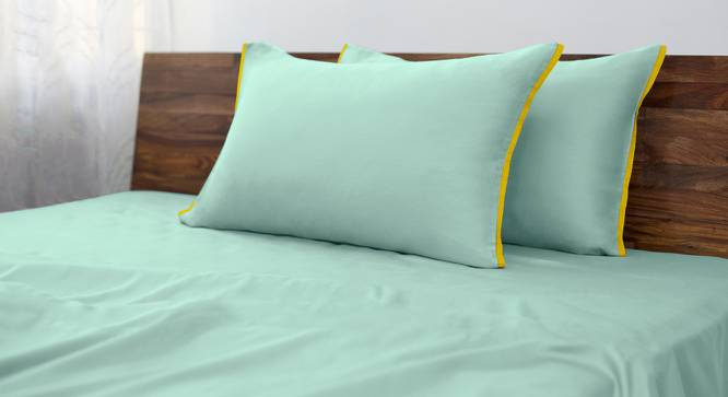 Serena 300 TC Sateen Bedsheet Set (Double Size, Blue Turquoise) by Urban Ladder