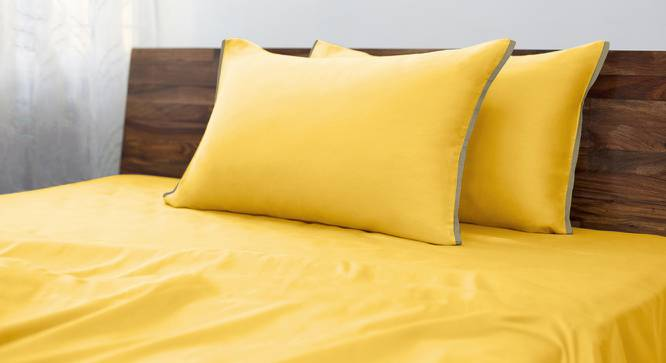 Serena 300 TC Sateen Bedsheet Set (Double Size, Mimosa Yellow) by Urban Ladder