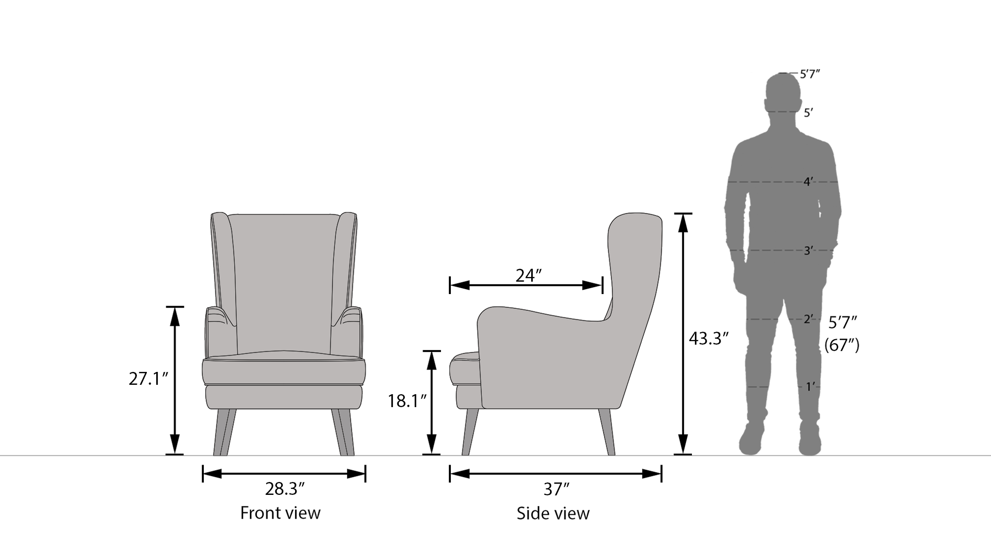 Genoa wing chair new dimension
